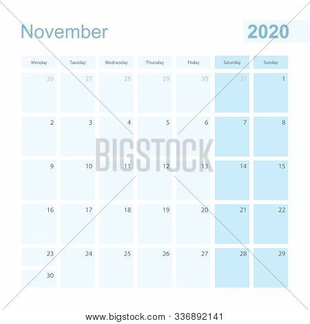2020 November Wall Planner In Blue Pastel Color, Week Starts On Monday. Calendar For November 2020 W
