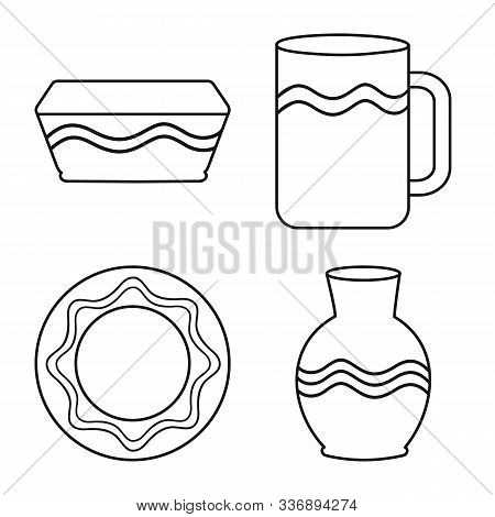 Vector Design Of Ware And Tableware Symbol. Collection Of Ware And Clayware Stock Symbol For Web.