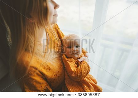 Mother With Daughter Infant Baby Family Lifestyle Mom And Child Together At Home Motherhood Concept
