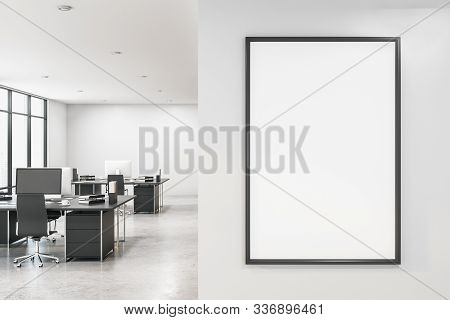 Modern White Office With Empty Computer Screen On Desk And Blank Poster. Workpace Concept. Mock Up,