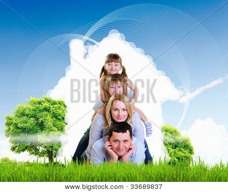 happy family spends time together on nature . Collage. poster
