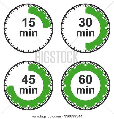 A Set Of Timers, Fifteen Minutes, Thirty Minutes, Forty-five Minutes, One Hour. Vector Illustration