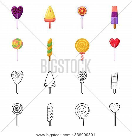 Vector Illustration Of Xmas And Confectionery Logo. Collection Of Xmas And Dessert Vector Icon For S