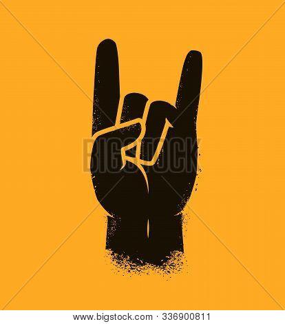 Cool Hand Gesture Symbol. Heavy Metal, Rock Vector Illustration