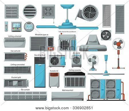 Air Ventilator Cartoon Vector Set Icon.vector Illustration Icon Of Ventilator Equipment.isolated Car