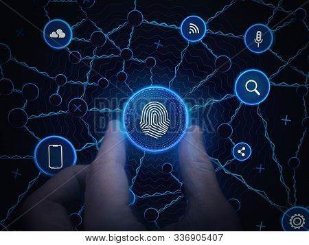 Рersonal Data Technology Background.hand Holds Digital Communication Network. Security Internet Busi