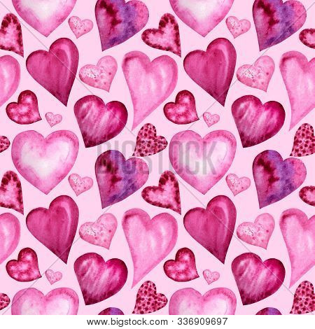 Seamless Pattern Watercolor Heart, Love Greeting Card Concept. Wedding, Valentines Day Banner, Poste
