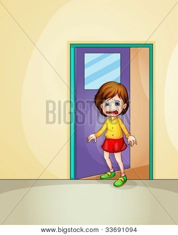 Illustration of girl crying at home