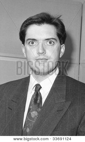 LONDON - DECEMBER 12: Mark Jones, Conservative party Parliamentary Candidate for Islington South and Finsbury, attends a photo call at Conservative Central Office on December 12, 1990 in London.