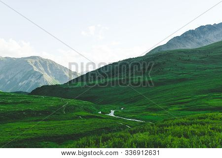 Gentle Hills, Green Meadow Under Sky. Agricultural Pasture For Cattle