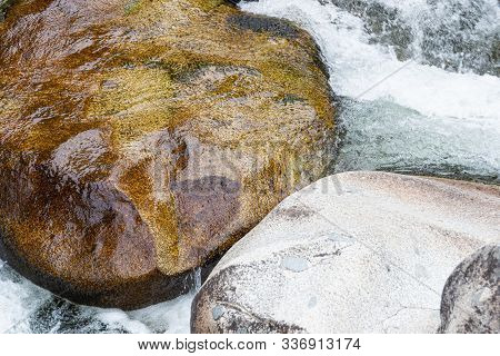 Fast Flowing River. Mountain Stream Among Rocks. Water Tourist Trip