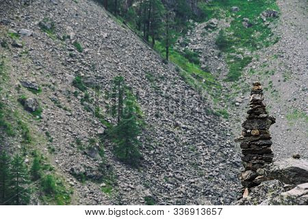 Slide Of Stones For Orientation In Forest. Hiking In Mountains. Meditation, State Of Balance Of  Sou