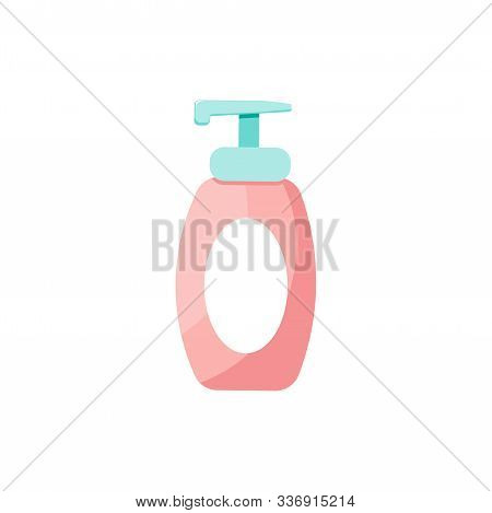 Isolated Soap Or Cream Bottle. Cute Skincare Cosmetics Icon In Cartoon Style. Beauty Woman Face Natu