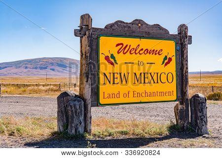 Antonito, Co - October 3, 2019: Welcome To New Mexico Sign Near The Colorado - New Mexico Border