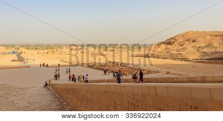 Luxor, Egypt - April 16, 2019: Tourists On The Staircase Of The Mortuary Temple Of Hatshepsut