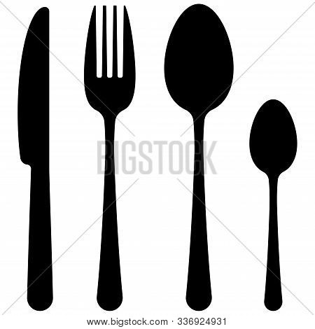 Black Cutlery Flat Simple Design Icon Set Isolated On White Background. Top View Dark Silhuette Tabl