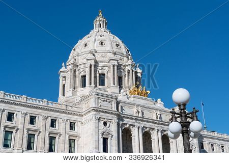 Facade Of The Minnesota State Capitol Building In St Paul