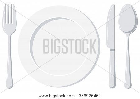Empty White Plate With Spoon, Knife And Fork Isolated On A White Background. Top View Silver Cutlery