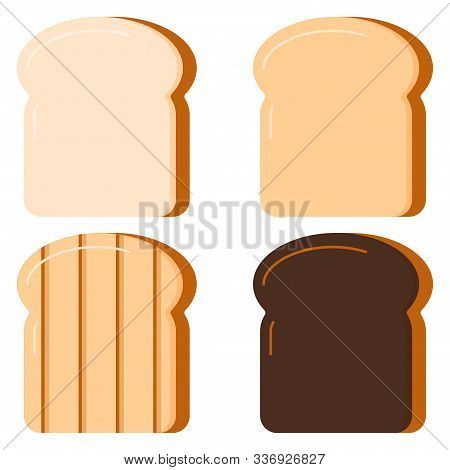 Toasts Bread Set Isolated On White Background. Vector Illustration Flat Design Cartton Style. Four S