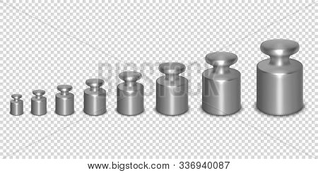 Vector 3d Realistic Metal Calibration Laboratory Weight Different Sizes Icon Set Closeup Isolated On
