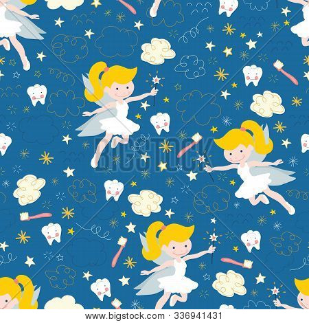Tooth Fairy Seamless Vector Pattern. Cute Fairies With Wand On Blue Background With Teeth, Toothbrus
