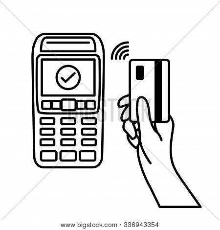 Vector Outline Of Nfc Payments. Pos Terminal Confirms Contactless Payment From Credit Card. Vector I