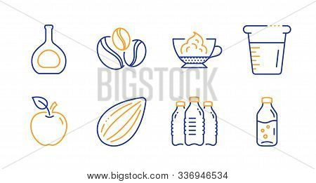 Espresso Cream, Apple And Coffee-berry Beans Line Icons Set. Cognac Bottle, Almond Nut And Cooking B