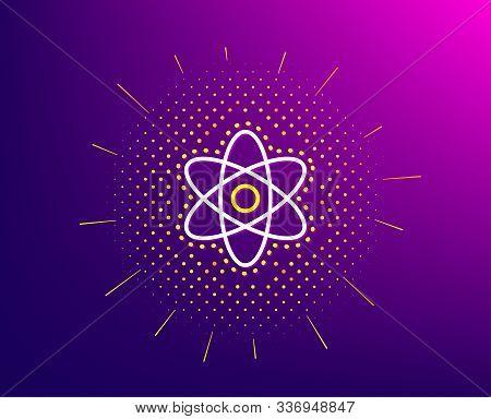 Chemistry Atom Line Icon. Halftone Pattern. Laboratory Molecule Sign. Analysis Symbol. Gradient Back