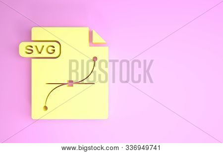 Yellow Svg File Document. Download Svg Button Icon Isolated On Pink Background. Svg File Symbol. Min