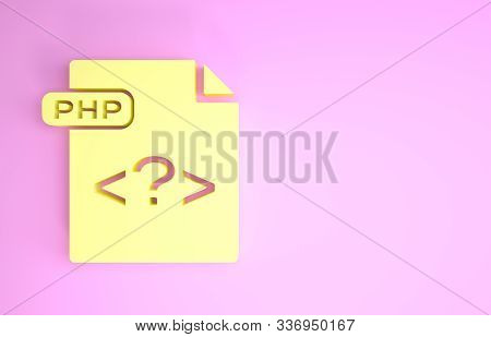 Yellow Php File Document. Download Php Button Icon Isolated On Pink Background. Php File Symbol. Min