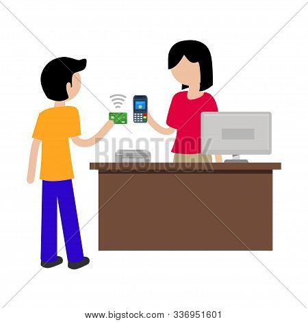 Vector Illustration Concept Of Contactless Payment In Stores, Vector Illustration Hand Of Customer U