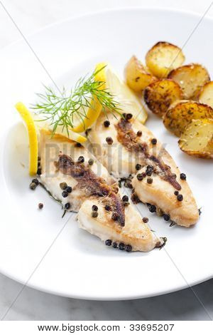 butterfish baked on pepper and anchovies poster