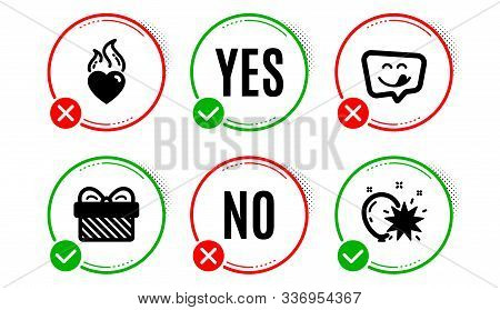 Yummy Smile, Gift And Heart Flame Icons Simple Set. Yes No Check Box. Balloon Dart Sign. Emoticon, P