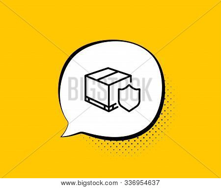 Delivery Insurance Line Icon. Comic Speech Bubble. Parcels Tracking Sign. Shipping Box Symbol. Yello