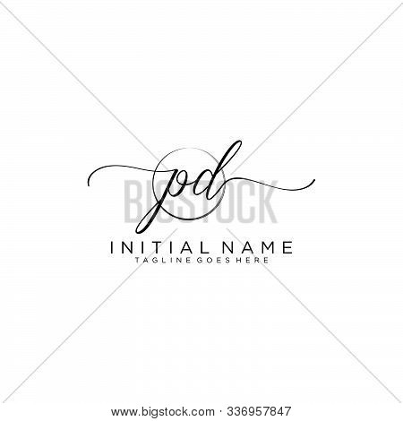 Pd Initial Handwriting Logo With Circle Template Vector.