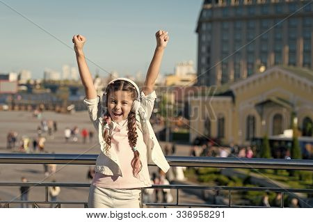 Girl Little Tourist Kid Explore City Using Audio Guide Application. Free Style Of Travelling. Exciti