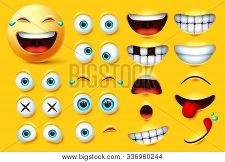 Emoji Creation Kit Vector Set. Emoticons And Emojis Face Kit Eyes And Mouth In Surprise, Excited, Hu