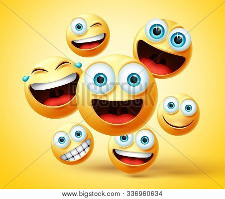 Emoticon And Emoji Group Vector Design. Emoticons Cute Face Head Group In Happy, Laughing, Smiling,