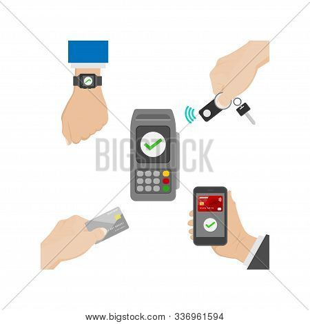 Vector Illustration Of Contactless Payment With Key Fob, Smart Watch, Smart Phone And Credit Card. C