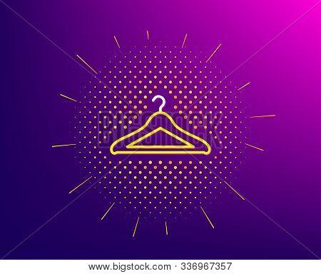 Cloakroom Line Icon. Halftone Pattern. Hanger Wardrobe Sign. Clothes Service Symbol. Gradient Backgr