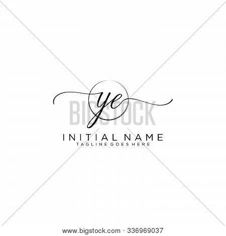 Ye Initial Handwriting Logo With Circle Template Vector.