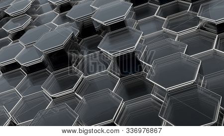 Abstract Glass Background Of Hexagons. 3d Illustration. Empty Space For Your Content