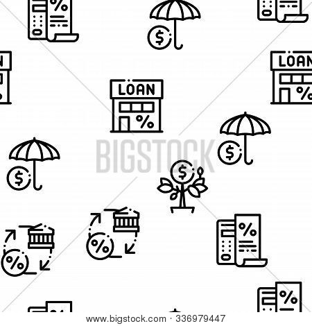 Payday Loan Seamless Pattern Vector Thin Line. Illustrations