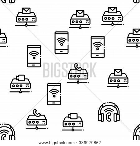 Voip Calling System Seamless Pattern Vector Thin Line. Illustrations