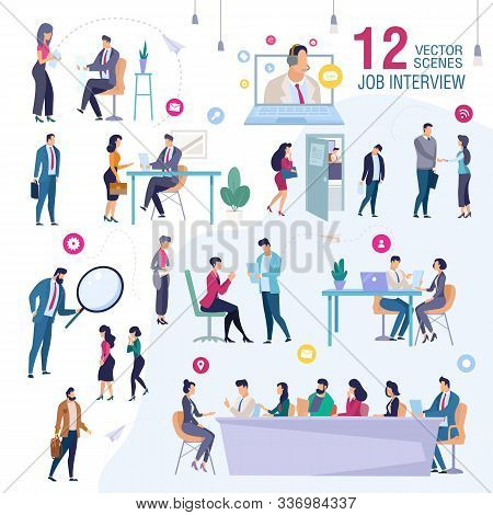 Job Interview In Office Trendy Flat Vector Scenes Set. Female, Male Job Applicants, Work Candidates