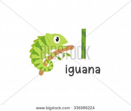 Cute Animals Alphabet For Kids Education. I For Iguana, Cute Animal Alphabet Series