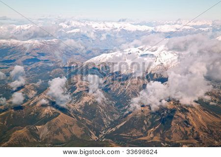Aerial view of southern alpine alps mountain range of New Zealand