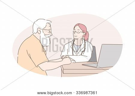 Healthcare Industry, Health Examination, Doctor Advice Concept. Old Man Receiving Medical Help, Prof