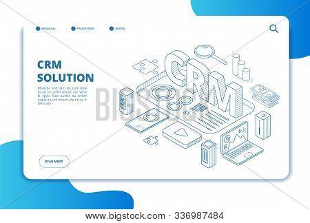 Crm Concept. Online Customer Relationship Management. Marketing System Solution. Business Client Sup