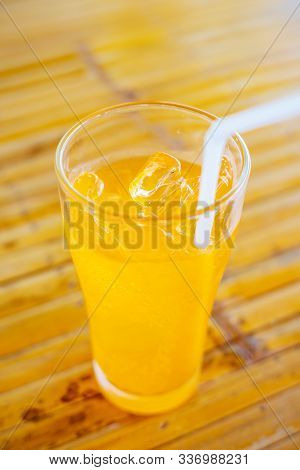 Glass Water Drink Cool With Tube On Table Blurred Background